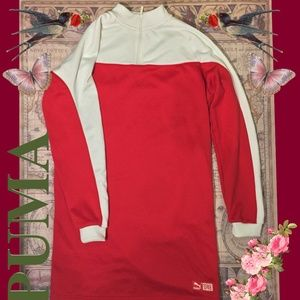 Red and White Puma Turtleneck Dress- Small
